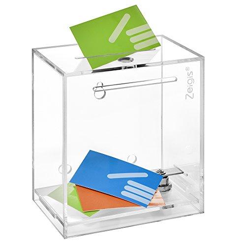 Spendenbox/Aktionsbox/Losbox mit Schloss, freistehend oder für die Wandmontage, aus glasklarem Acryl - Zeigis®