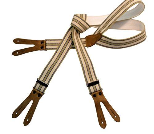 Karl Teichmann Pattenhosenträger mit 3 Leder-Patten zum Knöpfen, Beige/Streifendesign -