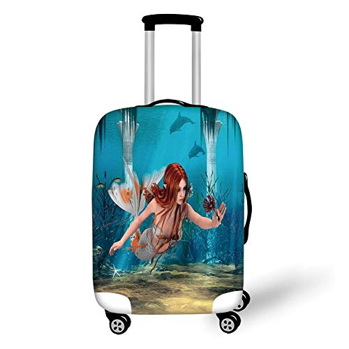 (Travel Luggage Cover Suitcase Protector,Mermaid,Lifelike Mermaid Holding a Sea Lily Magic Aquatic World Theme,Light Blue Burnt Sienna Yellow,for TravelM 23.6x31.8Inch)