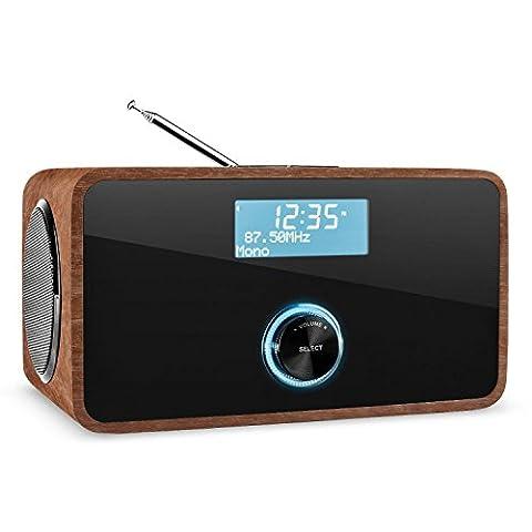auna DABStep • Digitalradio • Radiowecker • DAB / DAB+ / UKW-Tuner • LCD-Display • Datum- und Uhrzeit-Anzeige • RDS • Breitbandlautsprecher • 2-Band Equalizer • Bluetooth 3.0 • Sleep-Timer • Snooze • AUX-Eingang zum Anschluss externer Audiogeräte • braun