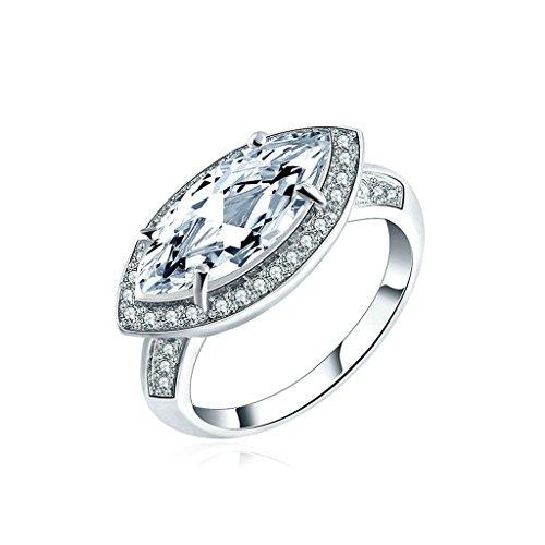 Daesar Gioielli Placcato Oro Anelli Donna Anello di fidanzamento luccichio Ovale Anello zirconi Argento Dimensioni:12
