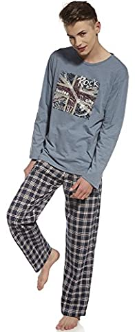 Cornette Jungen Pyjama CR-553-Young(Blau Melange/Navy Blau, 182/L)