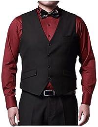 Zhhlinyuan Moda Mens Business Suit Vests 4 Button Blazer Waistcoat Plus Size
