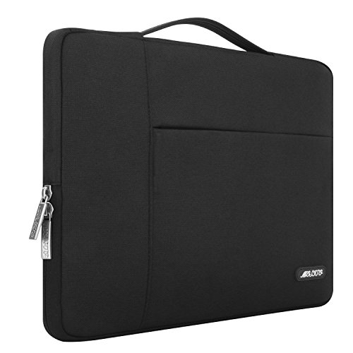 MOSISO Tasche Sleeve Hülle Kompatibel 15-15,6 Zoll MacBook Pro, Notebook Computer Multifunktionshülsen Spritzwasserfest Laptoptasche Handtaschen mit zusätzlichem Stauraum Polyester Hülle, Schwarz
