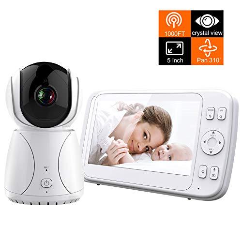 Bable Babyphone mit Kamera, G1 mit Delay-Free Technologie, 5 Zoll Video Babyfon mit 4G Optischer Glas Kamera Fernbedienung Kamera, 300 Meter, Automatische Verfolgung