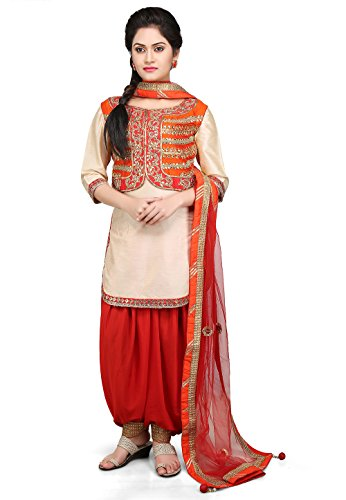 Utsav Fashion Embroidered Cotton Silk Jacket Style Punjabi Suit in Beige Colour