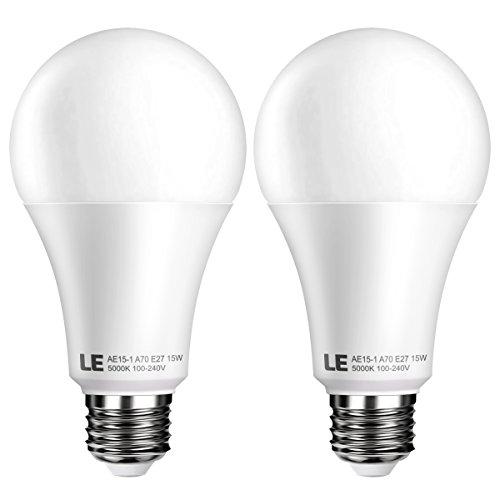 LE 2 pezzi Lampadina a LED E27, Pari a Incandescente 100W, 15W 1500lm 5000K Luce Bianca Diurna