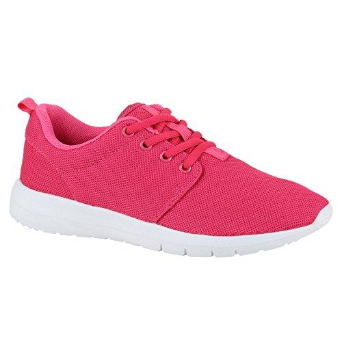 Damen Herren Sneaker Sportschuhe schwarz Turnschuhe Runners mit Blumen Print in mehreren Farben Pink Pink Weiss