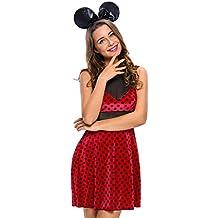 Nuevo Rojo y Negro 2pcs de Minnie Mouse Fancy disfraz de Halloween para despedida de bailarina de para fiesta noche tamaño S UK 8UE 36