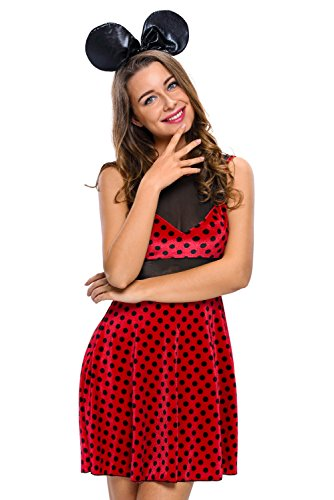 es Minnie Mouse Kostüm Fancy Dress Halloween Hen Night Disney Kostüm Gr. UK 8–10 EU 36–38 (Gute Disney-halloween-kostüme)