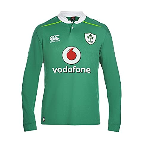 Canterbury Men's Ireland Home Classic Long Sleeve Rugby Jersey 2016/2017 - Bosphorous Green, Small