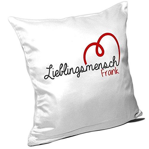 Kissen mit Namen Frank und schönem Lieblingsmensch-Motiv zum Valentinstag - Namenskissen - Kuschelkissen - Schmusekissen