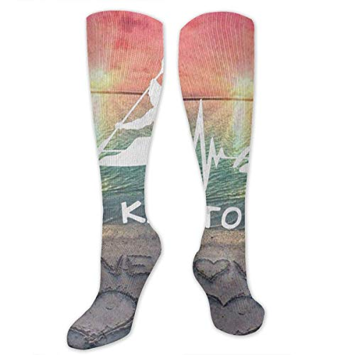 DGHKH Unisex Casual Sports Socks I Live to Kayak Heartbeat Best Socks Athletic Sport Tube Stockings (Live Fallen Für Katzen)