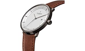 Nordgreen Philosopher Scandinavian Gun Metal Unisex Analogue 40mm (Large) Watch with Brown Leather Strap 10007