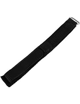 Textil Klettband Uhrenarmband Uhrenband Uhrband Ersatzband Armband schwarz mit Nahtfarbe schwarz RP8321024051...