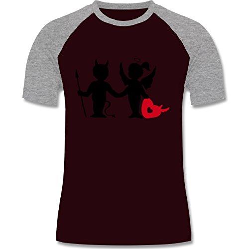 Symbole - Teufel und Elfe mit Herz - zweifarbiges Baseballshirt für Männer Burgundrot/Grau meliert
