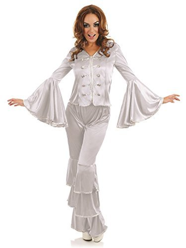 Silver Dancing Queen Women's Costume 60's 70's Fancy Dress (60's Und 70's Fancy Dress Kostüm)