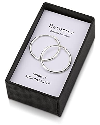 Retorica Silver Hoop Earrings - 20mm Sleeper Earrings in 925