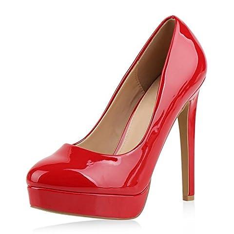 Damen Pumps High Heels Plateaupumps Lack Stiletto Elegante Schuhe Rot 38 (High Heels Pumps)