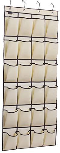 MISSLO über der Tür Schuh Organizer 24große Stoff Tasche Closet Zubehör Storage Aufhängen Aufhänger beige -