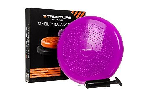 Disco de estabilidad, disco de equilibrio, cojín de aire para bamboleo, yoga para tobillo y rodillas, incluye bomba, morado