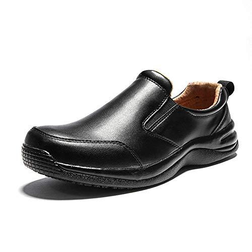YHHF Herren Gastronomie Schuhe Leder Arbeitsschuhe Leichte Küchenarbeitsschuhe Küchenchef Schuhe,Schwarz,44EU