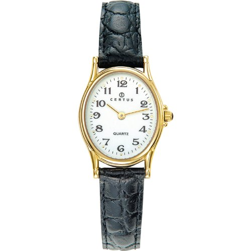 Certus 646461-Women's Watch Analogue Quartz White Dial Black Leather Strap