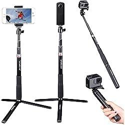 Smatree Q3S Bastone Selfie Monopiede Telescopico Allungabile con treppiede per GoPro Hero 6/5/4/3+/3/2/1/Session / Ricoh Theta S, M15, Fotocamere Compatte e Telefoni Cellulari