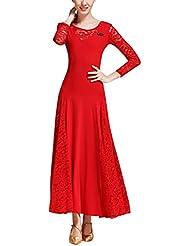 e69b6959e630df TAAMBAB Eine Linie Modern Standard Tanzkleider - Damen Spitzen-Ausschnitt  Walzer Tango Wettbewerb Tanzendes Kleid