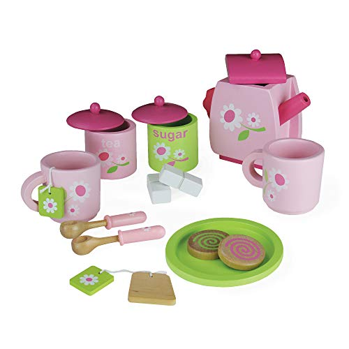 Pink Childrens Wooden Toy Tea Service Set | Kitchen Role Play | 14 Pcs Including Cups Tea Pot Bags Spoons Biscuits