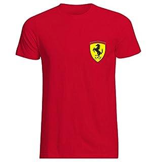 Mens Ferrari Italian Scuderia F1 Polo Neck Race Day T-Shirt Hi Quality Top (X-Large) Red