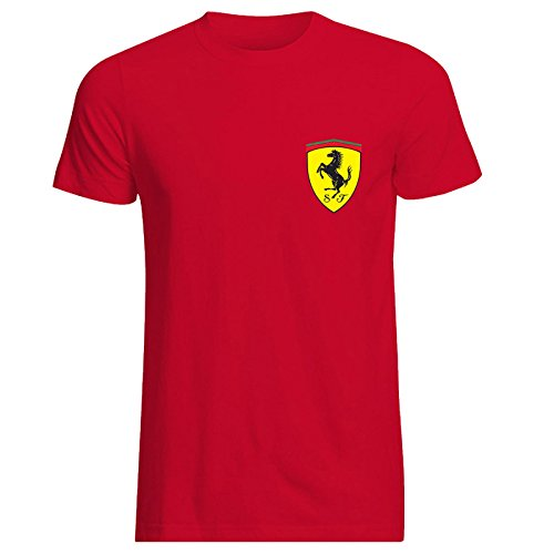 Mens Ferrari Italian Scuderia F1 Polo Neck Race Day T-Shirt Hi Quality Top (X-Large) Red