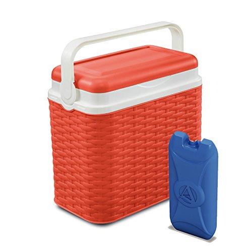 10-Liter-Kühlbox im Rattan-Design, für Camping, Strand, Picknick, Reise + 1x Reise-Kühlakku, Orange, Cooler Box + 1 Ice Pack Auto-kühler-plug-in