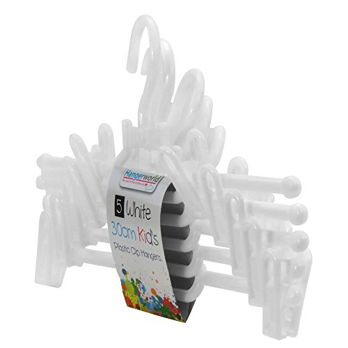 Hangerworld - Perchas De Plástico Blanco Con Pinzas Para Ropa Infantil, 30 cm, 20 Unidades