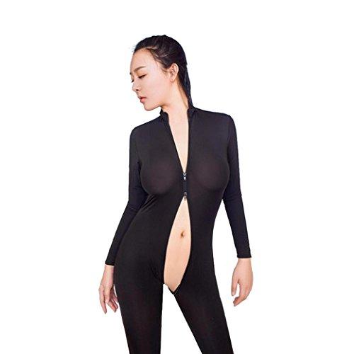 Frauen Sexy Bodysuit, Kingwo Damen Zipper Jumpsuit Langarm Geöffneter Gabelung Dessous Overalls