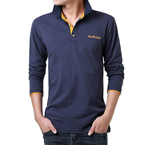 VWsiouev Herren Polo Shirts Lässige Langarm Golf Shirts Dry Fit Sportliches T-Shirt Umlegekragen Lässige Knopfleiste Polo Bodysuit