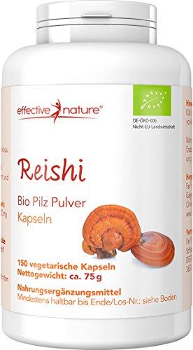 effective nature Bio Reishi Pilz Pulver - 150 vegetarische Kapseln - Ist der vielseitigste unter allen Vitalpilzen - Bio-Qualität - Unterstützend zur Entsäuerungskur (Pilz Pulver Bio)