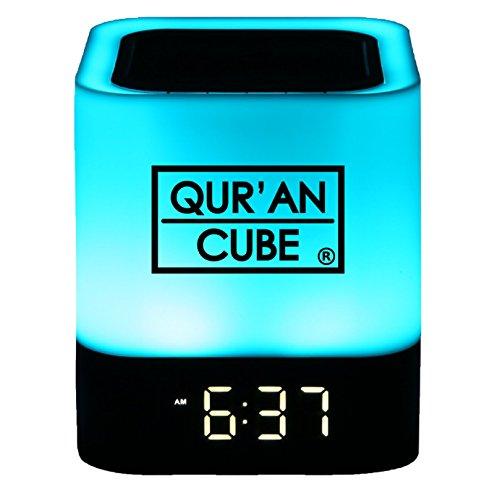 Koran Cube ⓡ Tragbare Digitale Koran Lautsprecher LED Touch Lampe, Bluetooth, AUX, Wecker, 7Verschiedene Bunte Rezitationen der Full Koran & Beautiful nasheeds