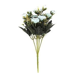 bdrsjdsb 1 Pza 6 Ramas Artificiales Realistas De Plástico Rosa Flor Arreglo Sala De Estar Muebles Decoración del Hogar Púrpura