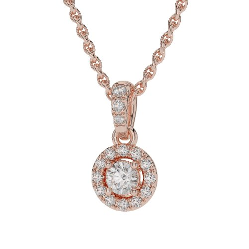 Or Rose 18 carats G-H/VS sertie de diamants taille ronde Halo Colliers Agdnc-0760