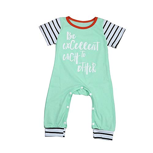 ALLAIBB Neugeborenes Baby Footies Pyjamas Junge Mädchen Brief Gestreifter Spielanzug Overall Layette Outfits (Color : Green, Size : 90) Baby-footie Pyjamas