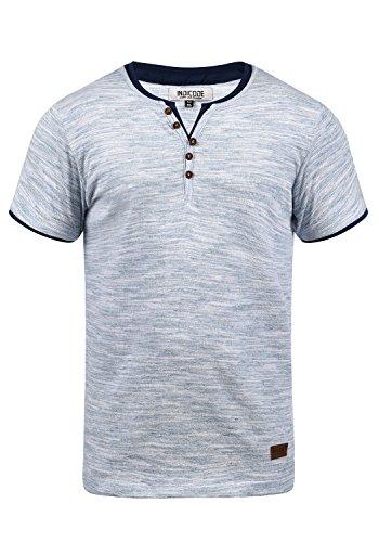 Indicode Aldred Herren T-Shirt Kurzarm Shirt Streifenshirt Mit Streifen Und Grendad-Ausschnitt, Größe:M, Farbe:Navy (400) Bund Shirt