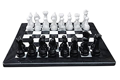 Black and White Marble Chess Game 16 inches Handmade Marble