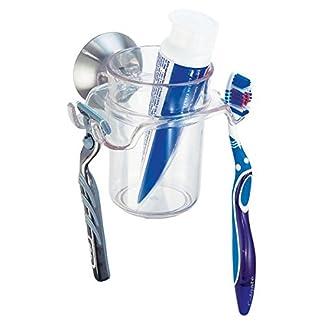 mDesign Soporte para cepillo de dientes – Porta cepillos y también para maquinillas de afeitar – Uno de los accesorios de baño más versátiles – Soporte para maquinillas de afeitar con ventosa
