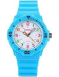 Panegy - Reloj de Cuarzo Analógico Impermeable de Color de Caramelo para Niños - Azul