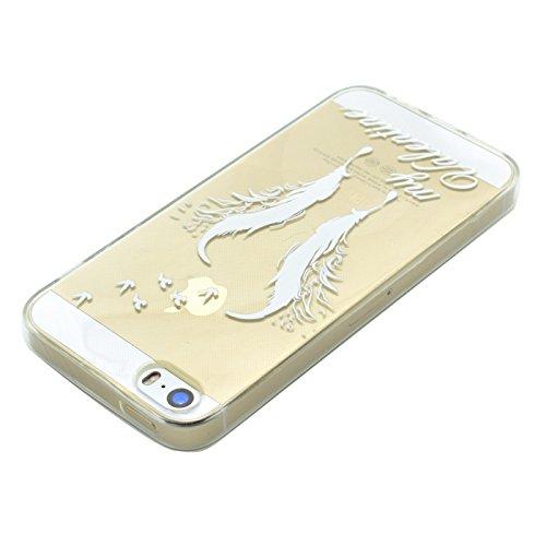 HLZDH Etui Coque TPU Slim Bumper pour Apple iPhone SE/5S/5 Souple Housse de Protection Flexible Soft Case Cas Couverture Anti Choc Haute Qualité Mince Légère Transparente Silicone Cover pour iPhone SE image-2
