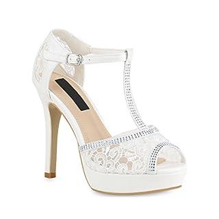 Stiefelparadies Damen Schuhe Plateau Sandaletten Spitzenstoff Stiletto High Heels Strass 154318 Weiss 39 Flandell