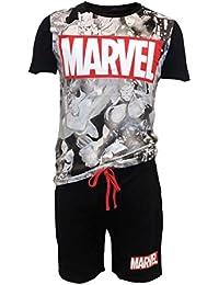 Avengers Classic Pyjama Big Marvel Logo Male Shortama Black