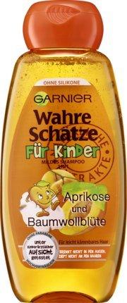 Mildes Haarshampoo / Shampoo WAHRE SCHÄTZE - FÜR KINDER (Aprikose + Baumwollblüte / 300 ml) KEIN BRENNEN UND ZIEPEN
