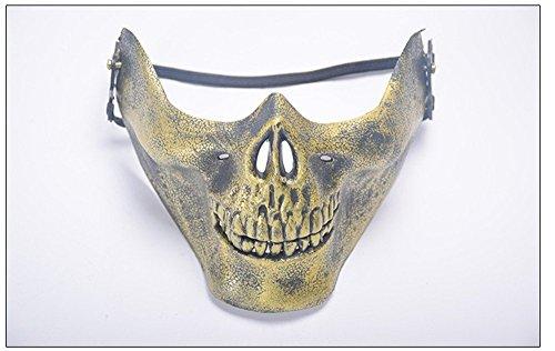 Masken Gesichtsmaske Gesichtsschutz Domino falsche Front Feld Maske Schädel Kopf Maske Halloween Vollgesicht Schutz Horror Maske Tanz Party Festivalbedarf Golden (Halloween-schädel Gesicht Für Bemalen)